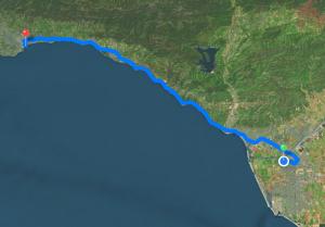 Strecke von Oxnard nach Santa Barbara - immer schön auf dem Highway 101 am Pazifik entlang