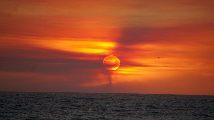 Sonnenuntergang der besonderen Art - Rauch vom Abholzungsfeuer in der Nähe von Santa Barbara