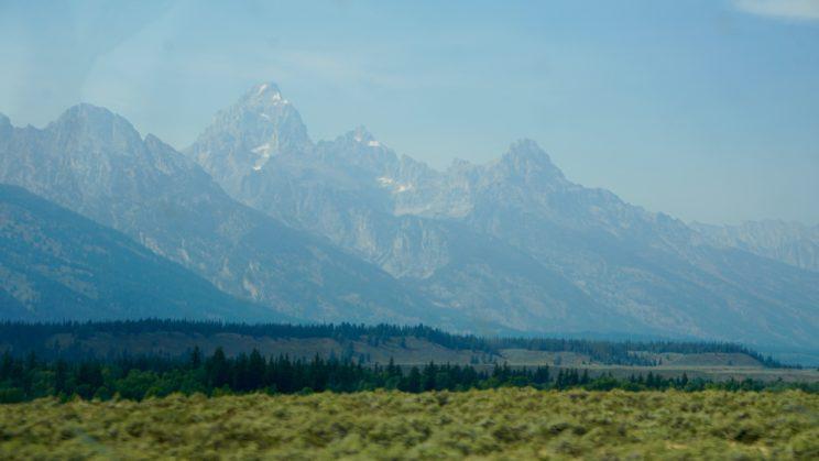 Unser erster Blick auf die Grand Teton Gruppe